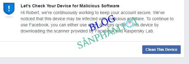 Facebook Khóa tạm thời vì nghi ngờ có phần mềm độc hại trên máy tính